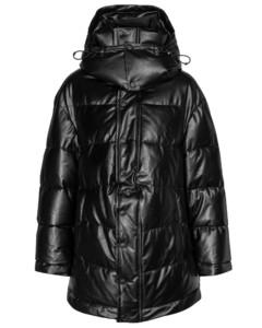 Logo皮革填充夹克
