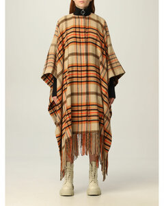 cape in check wool blend