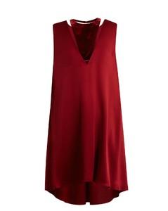 Velvet-panel satin dress