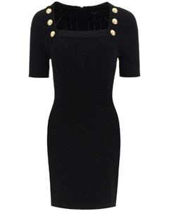MINI DRESS WITH GOLD-TONE BUTTONS