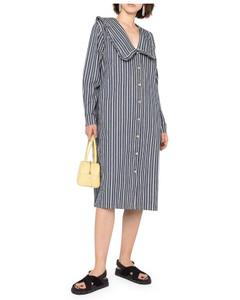 peter-pan collar striped denim dress