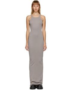 灰色罗纹背心连衣裙