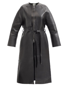 Collarless leather trench coat