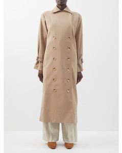 Double-breasted cotton-blend gabardine trench coat