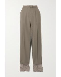 Layered Wool And Organza Straight-leg Pants