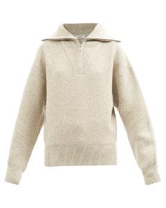 Fancy zip-neck merino-blend sweater