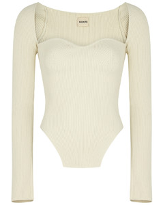 Maddy cream ribbed-knit top