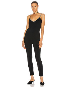 Crystal Strap Camisole Catsuit in Black