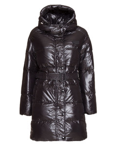 Hooded Belted Long Puffer Jacket