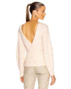 Diamante Back Twist Sweater in Pink