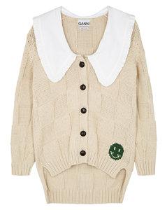 Cream cotton-blend cardigan