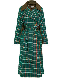 Woman Oversized Shell-paneled Checked Wool And Cotton-blend Trench Coat