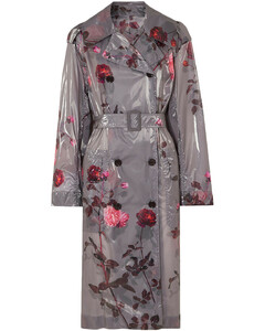 Woman Floral-print Pu Trench Coat