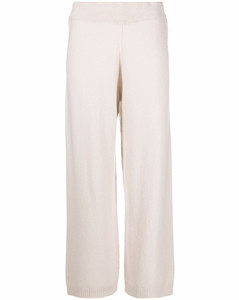 cropped wide-leg knitted trousers