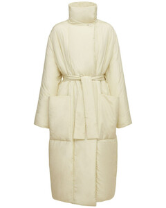 Wadded Cotton Silk Wrapover Coat