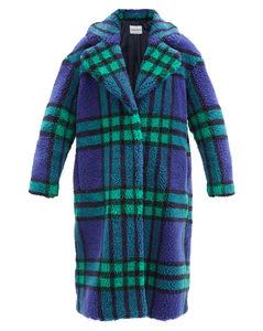 Camilla check recycled-fibre faux-shearling coat