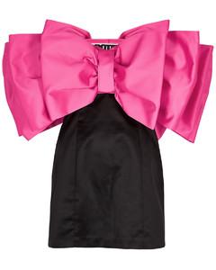 Natalie bow-embellished satin mini dress