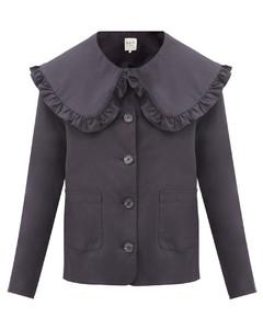 Scarlett ruffled-collar cotton-blend jacket