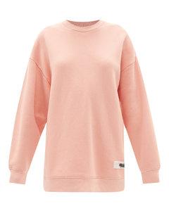 Logo-tab oversized cotton-blend jersey sweatshirt
