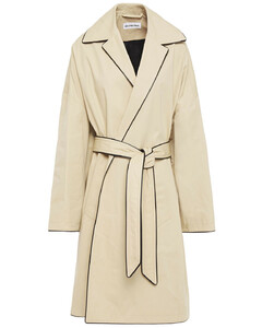 Woman Oversized Faux Leather-trimmed Cotton-gabardine Trench Coat