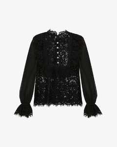 High-neck semi-sheer lace top