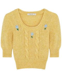 Yellow embroidered alpaca-blend jumper