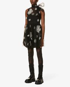 Floral-appliquétulle mini dress