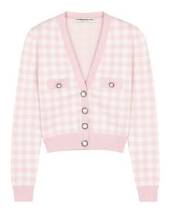 Pink gingham stretch-knit cardigan
