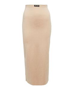 Scarlett人造珍珠綴飾花卉印花真絲斜紋布超長連衣裙
