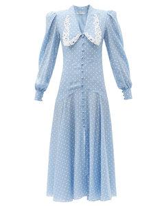Dropped-waist polka-dot silk dress