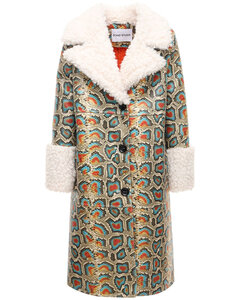 Linda Snake Print Faux Leather Coat