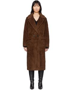 棕色羊毛人造皮毛双排扣大衣