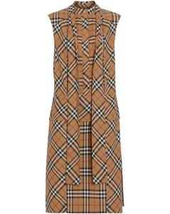 Vintage Check Tie-Neck Dress