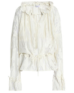 Gathered embroidered georgette blouse