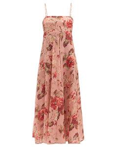 Cassia Musk Floral-print linen midi dress