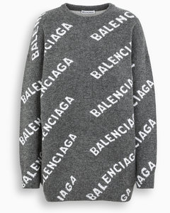 Grey/white all-over logo sweater