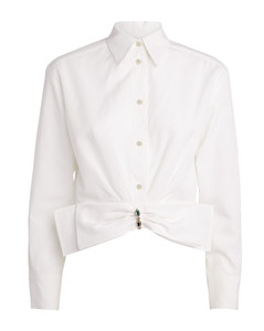 Removable Bow Cropped Shirt