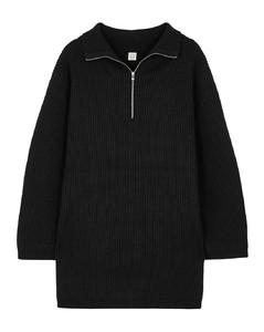 Fisherman black half-zip wool-blend jumper