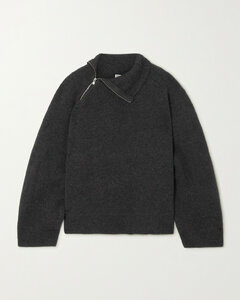 Zip-detailed Ribbed-knit Sweater