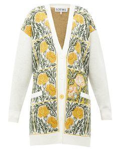 Flower-jacquard wool-blend cardigan