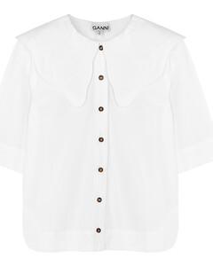 White cotton-poplin shirt
