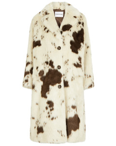 Theresa cow-print faux fur coat