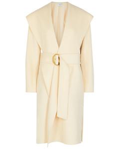 Cream hooded wool-blend coat