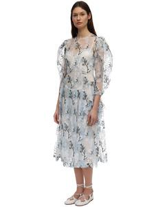 Embroidered Organza Midi Dress