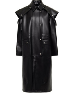 Woman Layered Coated Faux Leather Coat