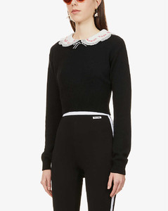 Embroidered collar-embellished cashmere jumper