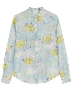 Printed cotton-blend shirt
