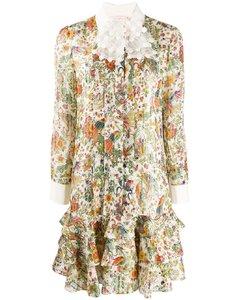孔雀印花襯衫裙