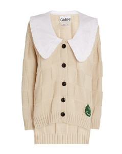 Smiley Graphic Collared Cardigan