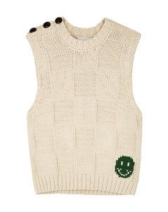 Cream cotton-blend vest
